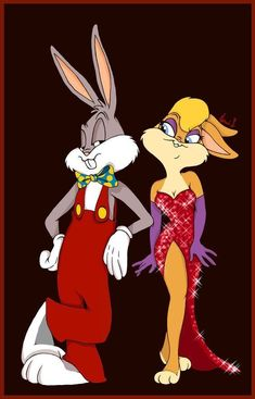 Bugs and Lola as Roger and Jessica Bugs and Lola (Looney Tunes) (c) Warner Bros. Animation Roger and Jessica (Who Framed Roger Rabbit) (c) 1988 Robert Zemeckis, Amblin Entertainment (Steven Spielberg), Touchstone Pictures & Walt Disney Studios Looney Tunes Characters, Classic Cartoon Characters, Looney Tunes Cartoons, 90s Cartoons, Classic Cartoons, Cartoon Art, Cartoon Illustrations, Time Cartoon, Looney Tunes Wallpaper