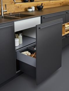 Cabinet doors that go all the way up to the counter give a more sleek and modern look.