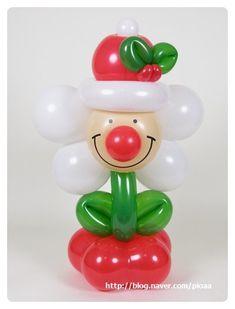 """""""빨간색 코""""를 강조한 크리스마스 꽃 [필요한 풍선들] ▶ 6인치 GEO 꽃풍선 Ruby Red ▶ 5인치 라운드... Balloon Crafts, Balloon Garland, Christmas Balloons, Christmas Ornaments, Art Party, Holidays And Events, Girl Birthday, Diy And Crafts, Sculptures"""