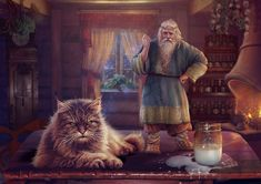A Domovoi or Domovoy, is a house spirit in Slavic folklore.  Domovye are masculine, typically small, bearded, and sometimes covered in hair all over. According to some traditions, domovye take on the appearance of current or former owners of the house and have a grey beard, sometimes with tails or little horns.Slavic mythology. Domovoi by Vasylina