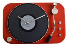 Metalen klok platenspeler rood - 8718531730724 - Avantius