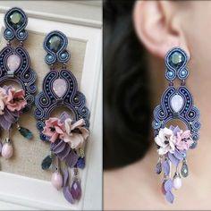 Soutache Earrings, Diy Earrings, Earrings Handmade, Shibori, Textile Jewelry, Beaded Jewelry, Beach Crafts, Diy And Crafts, Wedding Day