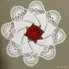 Best 12 ergahandmade: Crochet Doily + 2 Free Patterns Step By Step Crochet Tablecloth, Crochet Doilies, Crochet Flowers, Weaving Patterns, Crochet Blanket Patterns, Hexagon Pattern, Free Pattern, Crochet Doll Dress, Crochet Angels