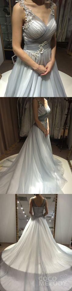 Perfect A-Line V-Neck Natural Court Train Tulle Silver Cloud/Ivory Sleeveless Zipper With Buttons Wedding Dress with Appliques Beading and Pleating CWXT1500F. #weddingdresses #cocomelody #customdresses #sleevlessdresses #a-linedresses