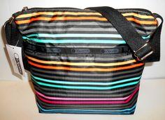 LESPORTSAC Small Cleo Crossbody Bag  *NEW* Lestripe Black & Multi Top Zip NWT #LeSportsac #MessengerCrossBody