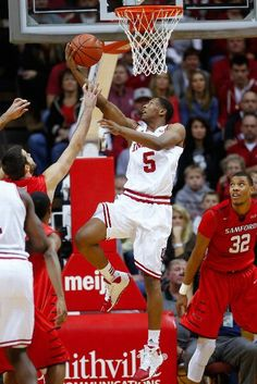 Troy Williams #5 of the Indiana Hoosiers makes a reverse layup against the Samford Bulldogs