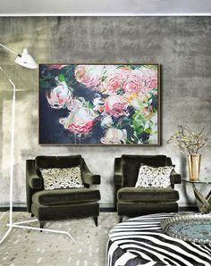 Horizontal Abstract Flower Oil Painting – CZ Art Design