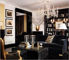 black trim, black floors, black furniture