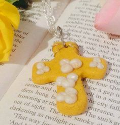 Polymer Clay Gold Sparkly Cross on a by Fallenangelscreation