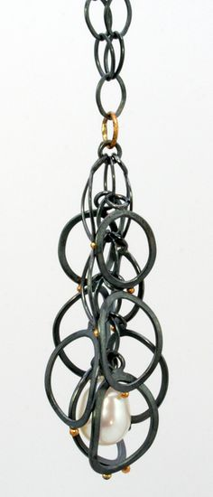 Necklace | Sydney Lynch.  Oxidized sterling silver, 18k gold, Baroque pearl