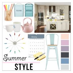 """""""Summer Style Kitchen"""" by horsesjordo ❤ liked on Polyvore featuring interior, interiors, interior design, home, home decor, interior decorating, House of Doolittle, NeXtime, Sharpie and Seed Design"""