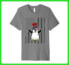 Mens Fourth of July Happy Penguin USA Flag T-shirt XL Slate - Holiday and seasonal shirts (*Amazon Partner-Link)