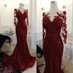 This red long sleeve gown was made with beaded lace and embroidery.  This illusion neckline style is flattering on many.  We specialize in custom #weddingdresses and #eveningdresses for women of all shapes and sizes.  Making #replicas of couture #dresses is also an option.  Email us directly for pricing and more information.
