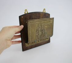 Vintage Brass and Wooden Ship Letter Organizer Wall Hanging - Brass Nautical Office Decor by Suite22 on Etsy