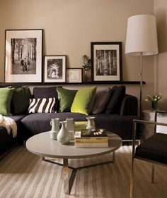 Very contemporary... Like the picture ledge and Green Accents