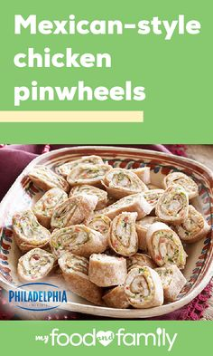 Mexican-Style Chicken Pinwheels – Pinwheels—or 'roll-ups'—make the perfect party dish. Simple, Healthy Living, and filled with flavor, this recipe only requires 25 minutes of prep! Finger Food Appetizers, Appetizers For Party, Finger Foods, Appetizer Recipes, Pinwheel Appetizers, Chicken Pinwheels, Mexican Pinwheels, Tortilla Pinwheels, Tortilla Rolls