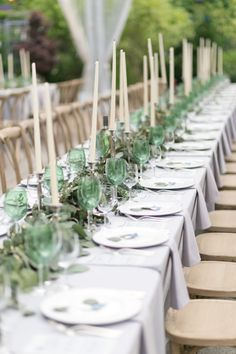 Estate Tables with Greenery | photography by http://www.cassiclaire.com/