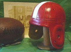 1940s Wisconsin Antique Style Leather Football Helmet