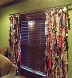 Do you want window treatments for your home in the worst way, but don& know where to start? Here are 15 sew and no-sew upcycled DIY window treatment ideas that just about anybody can do. These window treatment ideas are easy, creative and will. Fabric Strip Curtains, No Sew Curtains, Drop Cloth Curtains, Rod Pocket Curtains, Fabric Strips, Curtain Fabric, Bedroom Curtains, Diy Bedroom, Roman Curtains