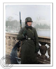 Wehrmacht soldier on watch at The Legion Bridge. Prague, March 1939.