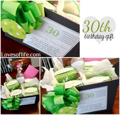 Loves of Life: Birthday Gift - doing something like this for our this . Loves of Life: Birthday Gift – doing something like this for our this year! 30th Birthday Ideas For Girls, 30th Birthday Presents, 30th Birthday Gifts For Best Friend, 30 Gifts, Cute Gifts, Best Gifts, Birthday Hampers, Birthday Gift Baskets, Birthday Woman