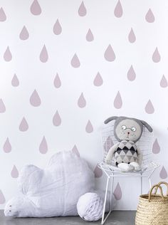 Lilac tones and raindrops wallpaper by Hibou Home http://www.my4faces.com/