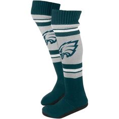 Philadelphia Eagles Ladies Knit Knee Slipper Socks - Gray/Midnight Green