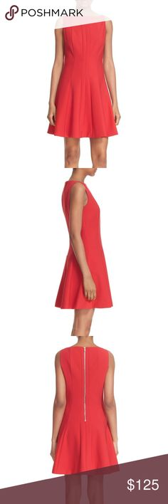 Elizabeth & James Red Boatneck Fit & Flare Dress 4 Details Crisp vertical seaming highlights the clean, contemporary silhouette of a sleeveless minidress that flares out into a lightly pleated skirt. - Exposed back-zip closure - Boat neck - Sleeveless - 54% polyester, 39% viscose, 7% elastane - Dry clean Elizabeth and James Dresses