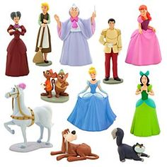 "The Disney Store ""Cinderella"" deluxe figure set Cinderella Outfit, Disney Princess Cinderella, Disney Pixar, Walt Disney, Disney Villains, Cute Baby Videos, Disney Figurines, Disney Dolls, Disney Merchandise"