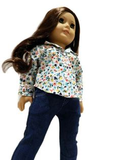 American Girl Doll Clothes - Long Sleeve, Button Up, Floral Cotton Print Shirt