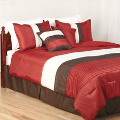 Our designer comforter sets will bring warmth and life to any bedroom! Don't you just love this rich red and chocolate brown set! Designer Comforter Sets, Old Time Pottery, Children Ministry, Bible Crafts For Kids, Chocolate Brown, Comforters, Bedrooms, Blanket, Rugs