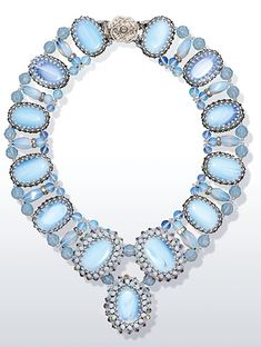 Collar-Style Necklace with Moonstone Beads, Crystal Beads and Seed Beads - Fire Mountain Gems and Beads