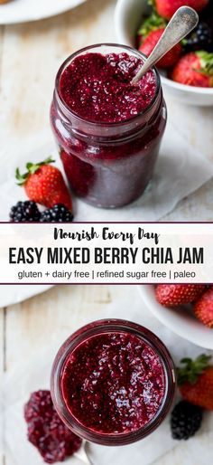 Easy Mixed Berry Chia Jam; only four ingredients needed to make this healthy jam that is gluten free, dairy free, paleo and refined sugar free! #chiajam #homemadejam #paleo #berrychiajam #glutenfree