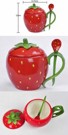 Ceramic Strawberry Water Cup mug Fruit cup