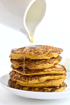 These easy gluten free pumpkin pancakes only call for 5 ingredients and makes the tastiest breakfast for the holidays.