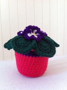 Crochet purple african violet evregreen flower plant by Kilewia, $15.00