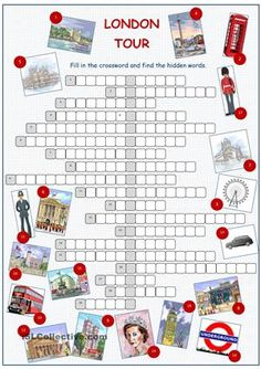A crossword puzzle on practising/reinforcing/testing vocabulary of London sights. - ESL worksheets