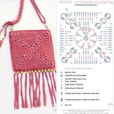 Bolsa de Crochê com Gráficos: 90 Modelos Crochet Diagram, Crochet Chart, Love Crochet, Crochet Motif, Knit Crochet, Crochet Patterns, Crochet Clutch, Crochet Handbags, Crochet Purses