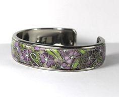 Purple Flowers, Polymer Clay, Brass, Glitters, Bracelets, Accessories, Jewelry, Jewlery, Jewerly