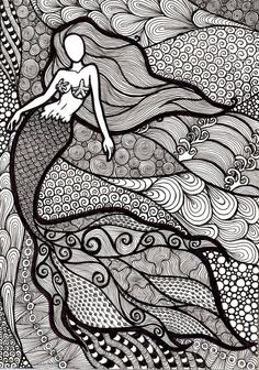 Zentangle Mermaid Coloring Book Page by ambercamiart on DeviantArt Doodle Art Drawing, Zentangle Drawings, Mandala Drawing, Art Drawings Sketches, Zentangles, Mermaid Drawings, Mermaid Art, Mermaid Coloring Book, Psychedelic Drawings
