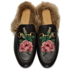 Gucci Black Floral Fur Princetown Slippers (3 405 PLN) ❤ liked on Polyvore featuring shoes and slippers