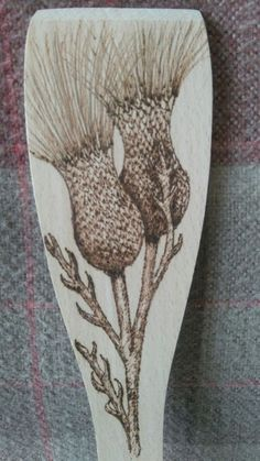 Wooden Thistle Decorated Spatula. Hand decorated with pyrography. Ideal gift. in Crafts, Hand-Crafted Items | eBay!