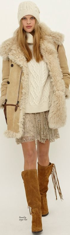 Polo Ralph Lauren Fall 2015 Ready-to-Wear women fashion outfit clothing style apparel closet ideas All About Fashion, Love Fashion, Womens Fashion, Fashion Trends, Ralph Lauren Style, Polo Ralph Lauren, Sheepskin Coat, Mein Style, Moda Boho
