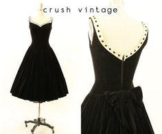 40s Velvet Dress XXS  / 1940s Bow Back Dress /  by CrushVintage, $232.00