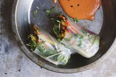 Pad Thai Spring Rolls with Red Curry Peanut Sauce | @withfoodandlove