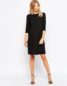 ASOS Maternity Shift Dress In Ponte With 3/4 Sleeves
