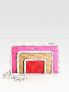 Anya Hindmarch - Colorblocked Straw & Leather Clutch