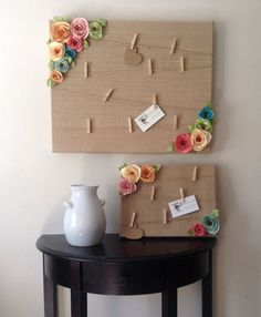 This adorable shabby chic style message board is covered in burlap and has twine with mini clothespins attached to hold you photos and messages! The