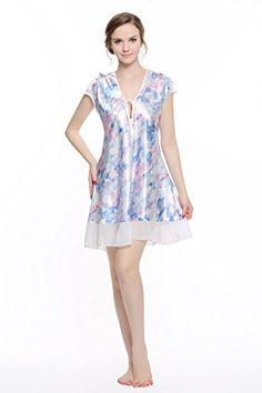 4c790d210f CYWH Women s Printed Satin Nightgown (XL