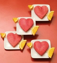 Healthy watermelon hearts. Definitely making these for the kids Valentines Day parties at school... how adorable!